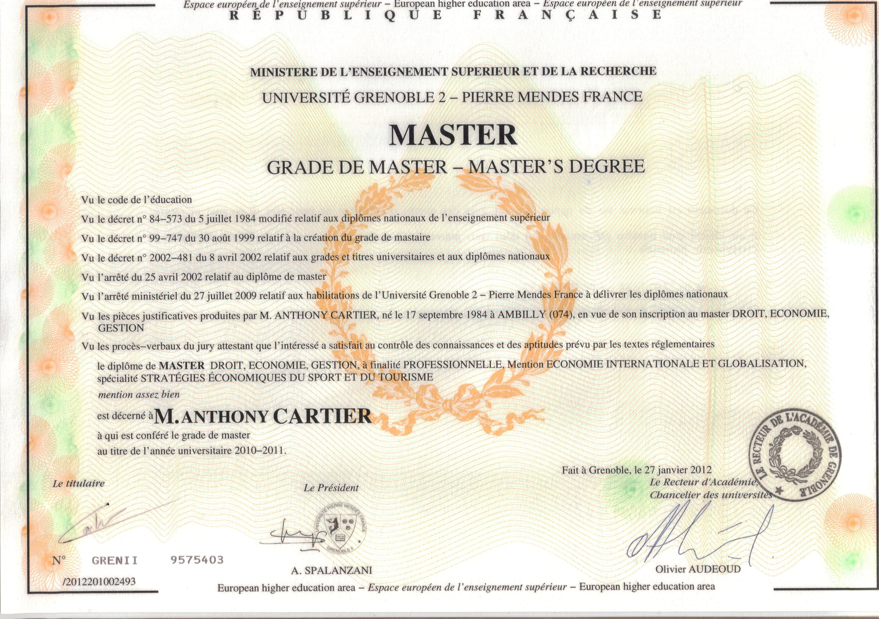 diplome de master